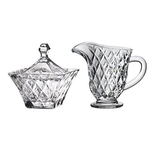 Global Amici Versailles Sugar Bowl and Creamer Set, Clear