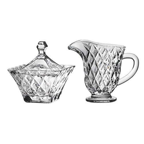 Global Amici Versailles Sugar Bowl and Creamer Set, Clear