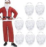 Funhoo 8 Piezas Graciosa Barba de Santa Disfraz de Barba Falsa Blanca Navidad Santa Claus Barba Accesorios de Vestuario para Los Adolescentes Adultos Disfrazan a Santa Claus en la Fiesta de Navidad