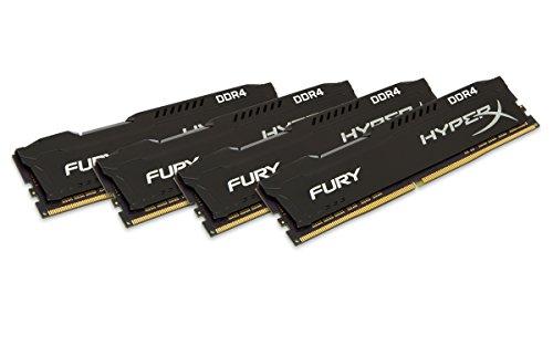 HyperX HX424C15FBK4/16 Fury Schwarz DDR4 16GB (Kit 4x4GB), 2400MHz CL15 DIMM XMP