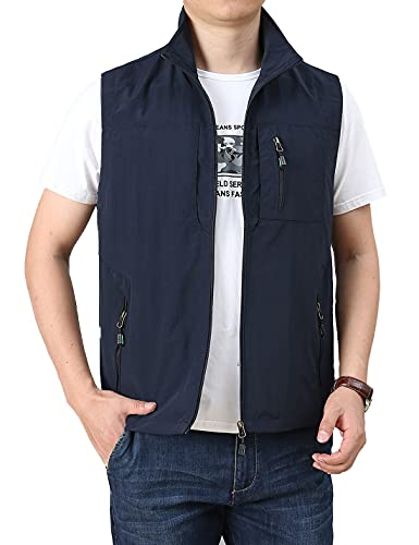 Hongsui Men's Summer Casual Outdoor Climbing Vest (Blue2, Medium)