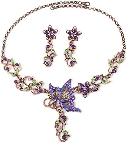 2 Pcs Butterfly Loves Flower Necklace Earring Jewelry Set for Women Purple Crystal Plant Insect Necklaces