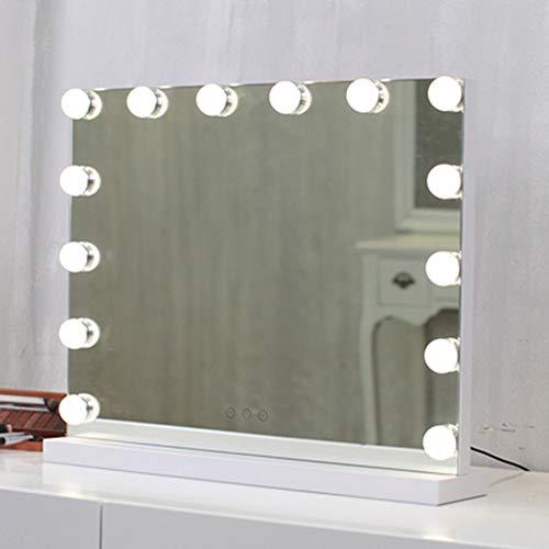 ZXMDP Miroir de Maquillage avec des lumières LED pour Le Maquillage Coiffeuse Ensemble Branchez Illuminated Miroir cosmétique avec 14 Dimmable Ampoules et Alimentation
