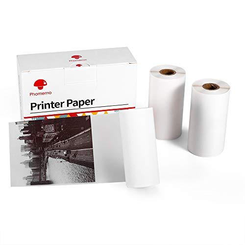 Phomemo Halbtransparentes Thermisch Bedruckbares Aufkleberpapier für Phomemo M02/M02S/M02Pro Minidrucker, 53 mm x 3,5 m, 3 Rollen