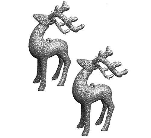 Paquete de 2 12cm Oro Brillo Reno Adornos de Navidad - Decoraciones de árboles - Decoraciones Tradicionales.