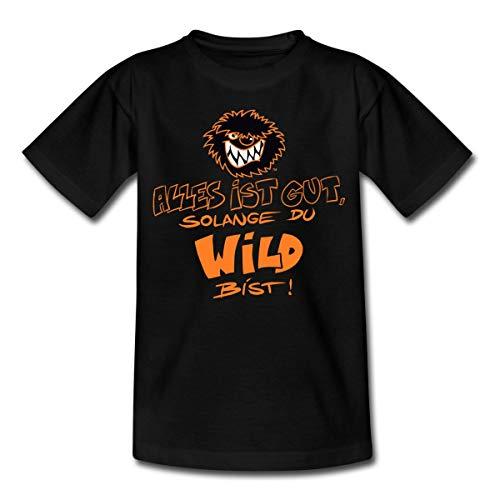 Die Wilden Kerle Spruch Motto mit Logo Teenager T-Shirt, 152-164, Schwarz