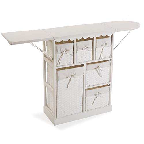 Versa 21160020 Mueble cajonera con 6 cestas para Planchar Basic, Madera, Blanco, 85 x 30 x 130 cm