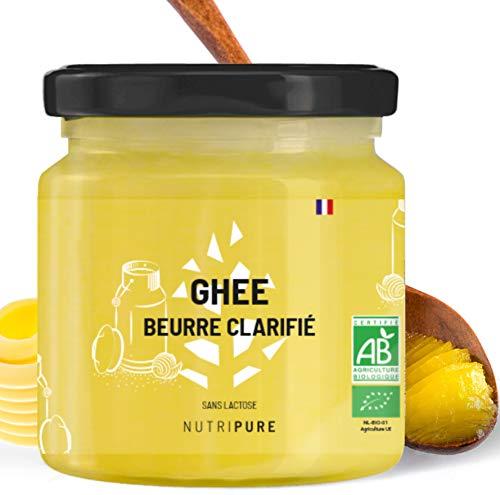 Ghee Bio • Beurre clarifié • Sans Lactose • Sans Caséine • Riche en vitamines A et E • Idéal pour la cuisson à haute température • Conservation long terme • 300G • NUTRIPURE
