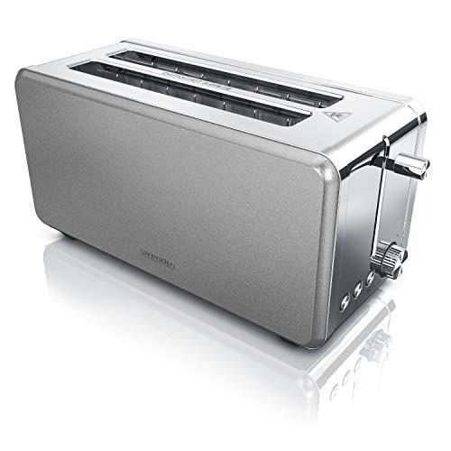 Arendo - Automatik Toaster Langschlitz 4 Scheiben - 1500W, Chrom