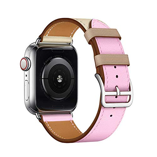 Geschikt voor Apple Horloge Lederen Band 44 Mm Iwatch Serie 5 4 3 2 1 Smart Accessories 42 Mm Ring 38 Mm Armband Vervanging 40 Mm, 42 or 44mm nun logo, Sakura poeder klei
