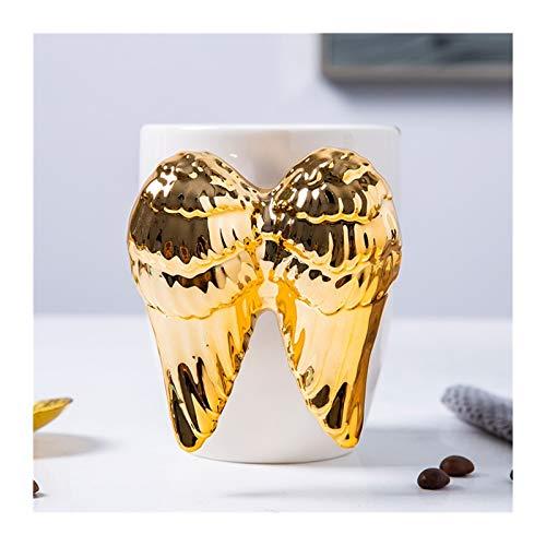 Tazzine caffè Angelo divertente tazze di caffè for le donne di tè al latte porcellana tazze di ceramica bianca tazza di caffè con cucchiaio di metallo come compleanno, laurea, regali di Angelo di nata
