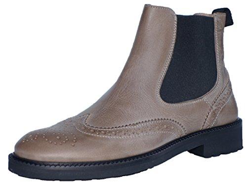Gallucci 5078B Chelsea Boots Stiefeletten mit Budapester Muster, Unisex (32 EU, Beige (Taupe))