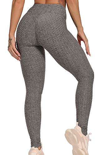 FITTOO Leggings Push Up Mujer Mallas Pantalones Deportivos Alta Cintura Elásticos Yoga Fitness #1 Gris S