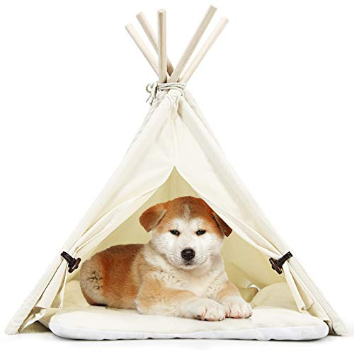 Tangkula Pet Teepee, Pet Dog Tent w/Thick & Anti-Slip Cushion, 33 Inch Portable Pet House w/Stable Structure for Puppy Cat Rabbit, Washable Indoor Outdoor Pet Sleep Bed Luxury Cozy Cave (Beige)