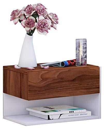 VCM Wand Nachttisch Nachtschrank Beistelltisch Tisch Nacht Kommode Konsole Holz kern-nussbaum/weiß 30x46x30 cm