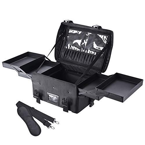 AW メイクボックス 大容量 プロ用 スライドトレー 多機能 2WAY 軽量 幅43cm メイクソフトケース 化粧品箱 メイク収納 ソフト ナイロン プロ用メイクボックス 美容師 ソフトメイクボックス 化粧 収納 ショルダー 持ち運び 黒