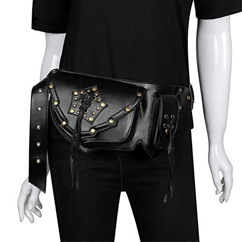 JOMSK Fanny Pack Steampunk Hip Bag Viajando Moda Paquetes de Cintura para Mujeres Hombres con cinturón Ajustable Muebles de Baño (Color : Black, Size : One Size)