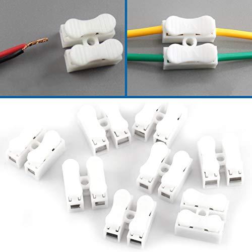 Klemmenblock, 100PCS 10A 220V Selbstsichernde Druckart Schnellanschlussklemme, 2-poliger Schnellkabel-Kabelstecker für LED-Streifenlicht-Kabelverbindung