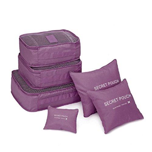 Juego de 6 bolsas cuadradas de almacenamiento para equipaje de viaje, para ropa, bolsa organizadora