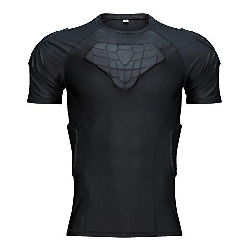 Body Safe Guard Acolchado Deportivo de compresión Shorts Protector de Costilla Leg Traje Protector para fútbol Basketball Paintball Rugby Parkour Extreme Exercise (New Padded Shirt, XXL)