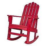 Shine Company 4699CR Marina II Porch Rocker with Hydro-TEX Finish, Chili Red Rocking Adirondack Chair