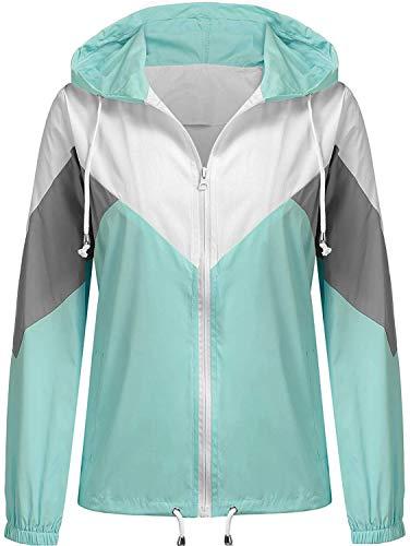 SoTeer Women's Outdoor Rain Jacket Cycling Waterproof Lightweight Raincoat Hooded Rain Coat (Aqua Green, M)