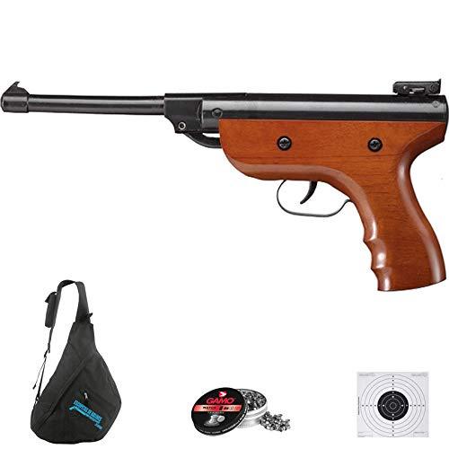 ECOMMUR S2 Madera | Pack Pistola zasdar de balines (perdigones) y Aire comprimido (por Muelle) con Mochila. Diferentes calibres (4.5mm)