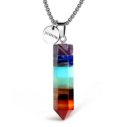 Jadenova 7 Chakra Pendant Necklace Hexgonal Energy Healing Gemstone Crystal Dowsing Divination Pendulum 18&Quot; Stainless Steel Chain