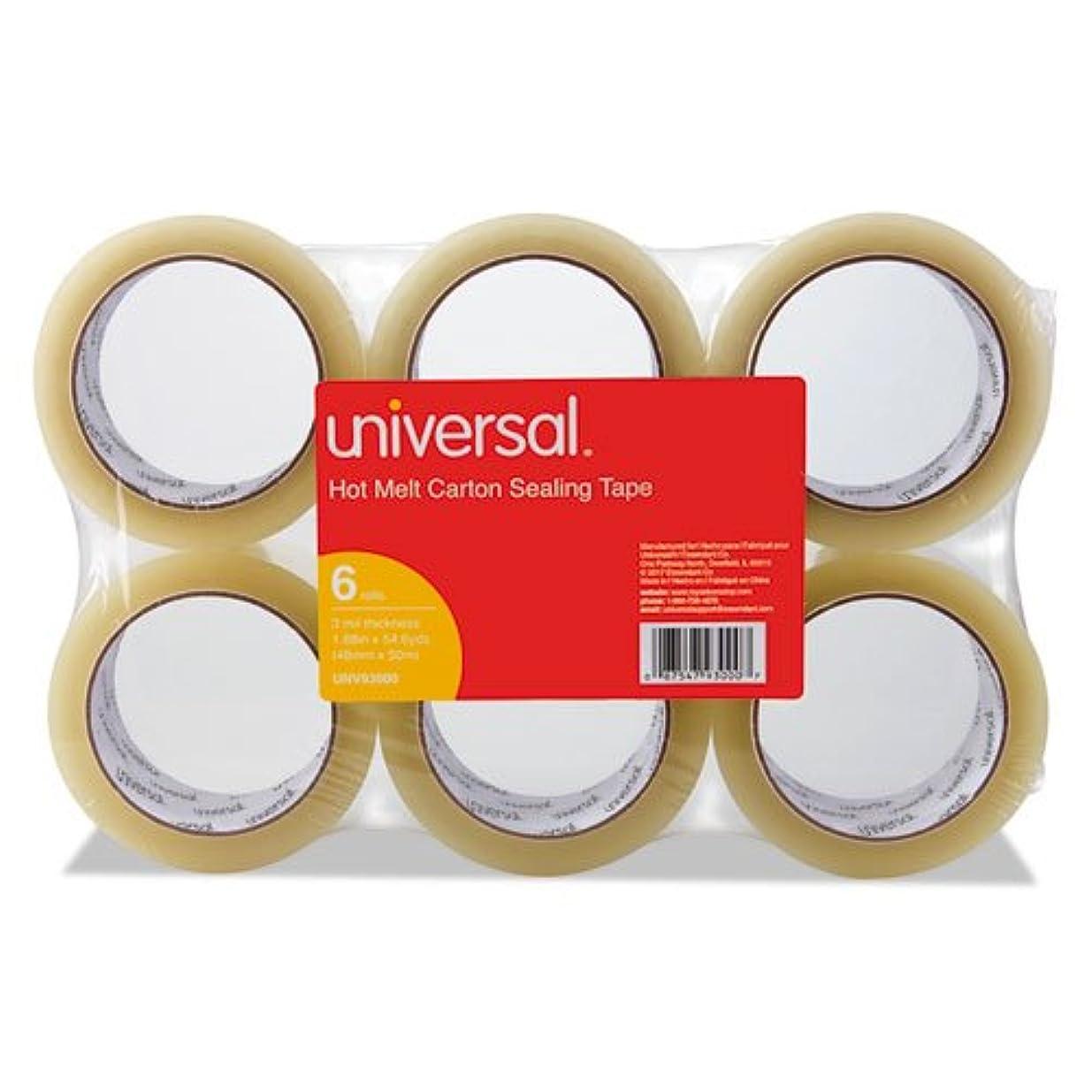 乏しい食器棚世紀ユニバーサル丈夫なボックスシーリングテープ、48?mm x 50?m 1つ、3インチコア、クリア、6?/パック
