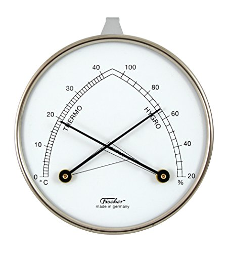 Fischer Raumklimamesser mit Hygrometer und Thermometer - Metallgehaeuse 87mm