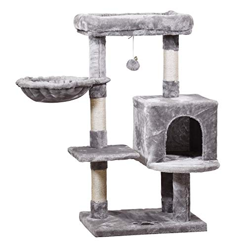 JISSBON Cat Tree Cat Tower with Padded Plush Perches, Condo, Hammock & Cat Scratching Post for Kittens, Large Cats, Light Grey
