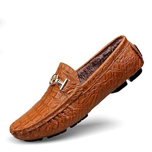 AZLLY Heren Loafers Casual Schoenen Flats Slip op Moccasin Handgemaakte Leer Mode Slipper Ademende Comfortabele Warm Driving Schoenen Grote Maat 39-47