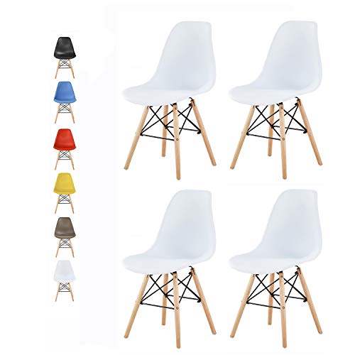 mcc direct Set of 4 Modern Design Dining Chairs Eiffel Retro Lounge Chairs, LIA by MCC (White)