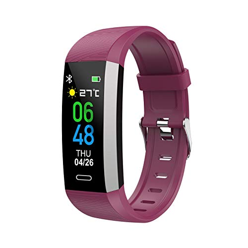 KTYX Reloj Inteligente for Hombre y Mujer, Monitor de Sueño, Monitor de Ritmo cardíaco, Bluetooth,Reloj Inteligente, cámara podómetro, Impermeable Reloj Inteligente (Color : Purple)