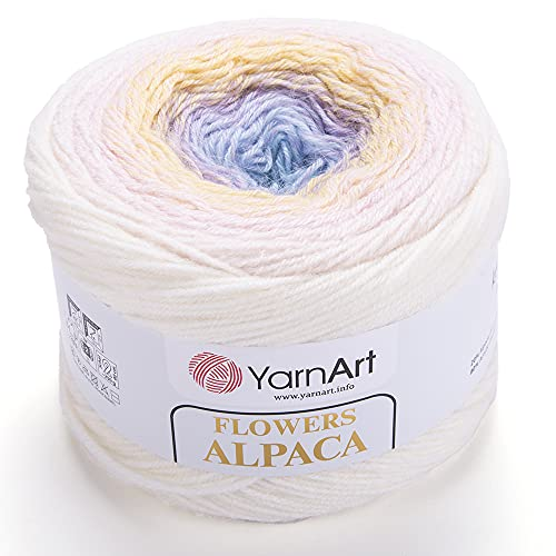 YarnArt Flowers Alpaca 20% Alpaca 80% Acrylic Weight 8.82oz Length 1028 Yards Multicolor Rainbow Crochet Winter Yarn Weight 2 Sport (402)