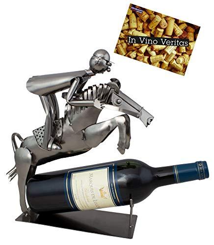BRUBAKER Weinflaschenhalter Reiter im Sprung Deko-Objekt Metall Flaschenständer mit Grußkarte für Weingeschenk