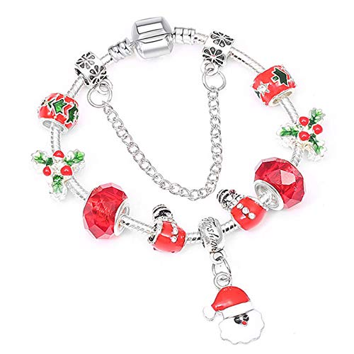 Pulsera de lujo de cristal rojo Santa Claus encanto y brazalete pulseras de color plata para las mujeres joyería 21cm