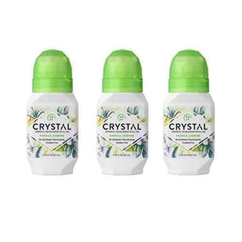 Crystal Deodorant Essence Roll-On 2.25 Ounce Vanilla Jasmine (66ml) (3 Pack)
