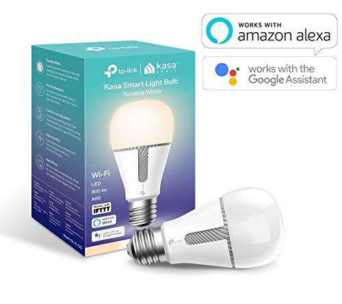 TP-Link - Bombilla LED Funciona con Alexa Altavoz Inteligente y Google Home, Bombilla WiFi, Blanco Regulable, 800lm (KL120)