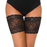 "heekpek Elastic Lace Thigh Stockings Thigh Bands Anti Ferture para evitar roces en los muslos Banda De Silicona Calcetines antideslizantes de silicona de encaje (Negro, D: 63-68cm (25""-27""))"