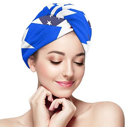 Toalla de microfibra suave para el pelo, toalla de ducha resistente, toalla de turbante portátil, toalla absorbente, toalla ligera, bandera de Estados Unidos y Puerto Rico