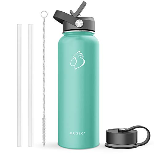 BUZIO Double Wall Stainless Steel Sports Water Bottle, BPA-Free Flex Cap and Straw Lid, 40 Ounces, Mint