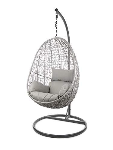 Kideo Komplettset: Hängesessel mit Gestell & Kissen, Indoor & Outdoor, Poly-Rattan (Gestell- und Korbfarbe: grau, Kissen: grau Nest (8008 Cloud))