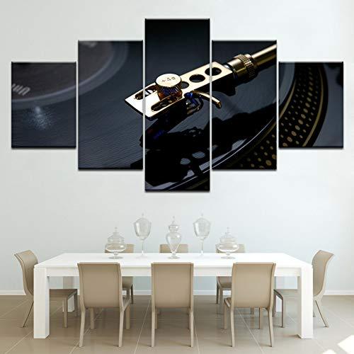 ZYQXI 5 Pezzi Quadro su Tela Pittura Decorativa Dischi in Vinile Vintage Wall Artwork Wallpapers Modern Poster Art Pittura su Tela per Soggiorno Decorazioni per la casa-40x60x2 40x80x2 40x100cm