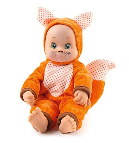 Smoby 7600210123WEB Minikiss Animals Schmuse-Fuchs, Küssende Puppe, Kuschelpuppe, für Kinder ab 12 Monaten, Orange