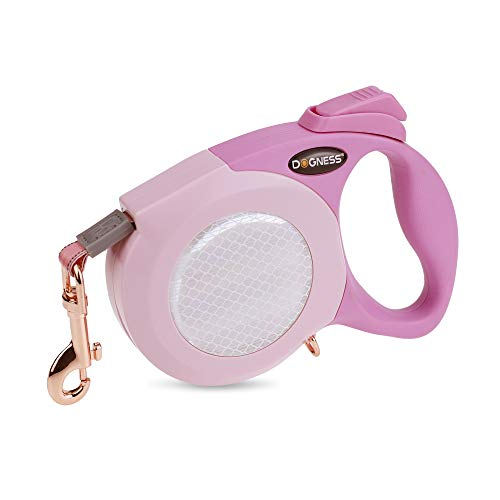 DOGNESS Reflective Retractable Dog Leash, One Button Brake & Lock Anti-Slip Handle, Strong Nylon Ribbon Tape, 13 ft Long Dogs, Three Colors Reflective Sticker (10 ft / up to 25 lbs, Pink)