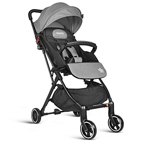 Pram Stroller, Besrey Compact Lightweight Baby Stroller, Recline Baby Buggy for Airplane Ultra Lightweight Baby Trolley with Luggage Carry Handle