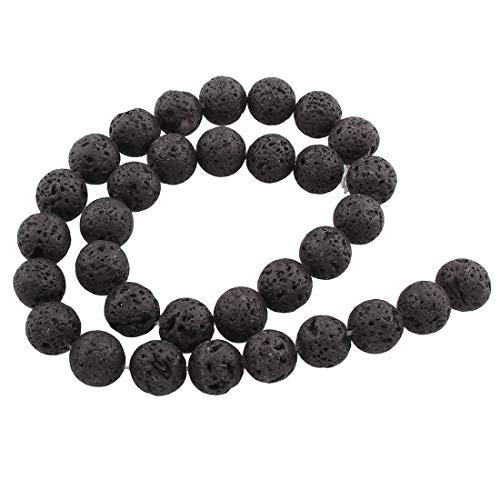 Perlin - Edelstein Lava Perlen 10/8/6/4 mm Rund Lavaperlen Schwarz Stein Naturstein Strang Schmuckperlen Halbedelstein für Schmuck Kette Armband (10mm 38stk 1 Strang)