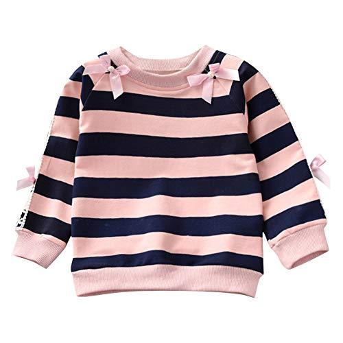 Baby Sweatshirt Mädchen, Dasongff Rundhals Langarm Gestreift Pullover Kleinkind Crop Tops Pulli Kinder Langarmshirt mit Schleife Kuschelig...