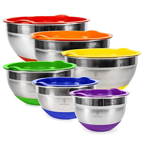 love amp flour Mixing Bowls with Airtight Lids 12 Piece Stainless Steel Nesting Bowls Set Measurement Marks amp Colorful NonSlip Bottoms Great for Prep Serving and Food Storage